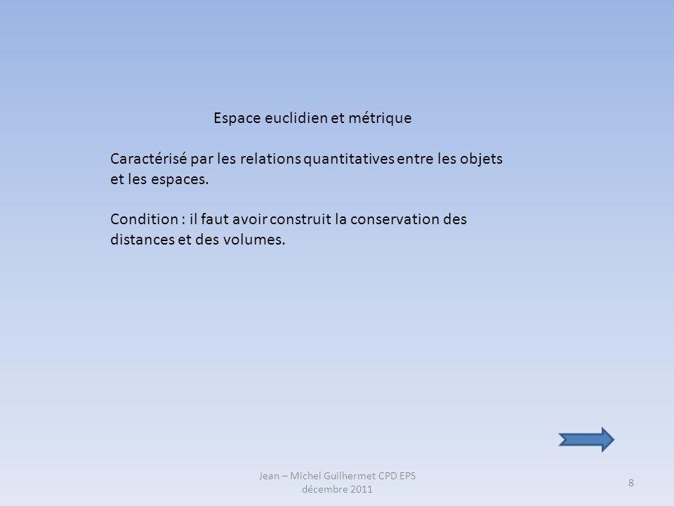 Jean – Michel Guilhermet CPD EPS décembre 2011 8 Espace euclidien et métrique Caractérisé par les relations quantitatives entre les objets et les espa