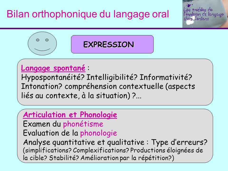 Bilan orthophonique du langage oral Langage spontané : Hypospontanéité? Intelligibilité? Informativité? Intonation? compréhension contextuelle (aspect