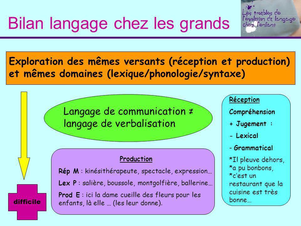 Bilan langage chez les grands Exploration des mêmes versants (réception et production) et mêmes domaines (lexique/phonologie/syntaxe) Langage de commu