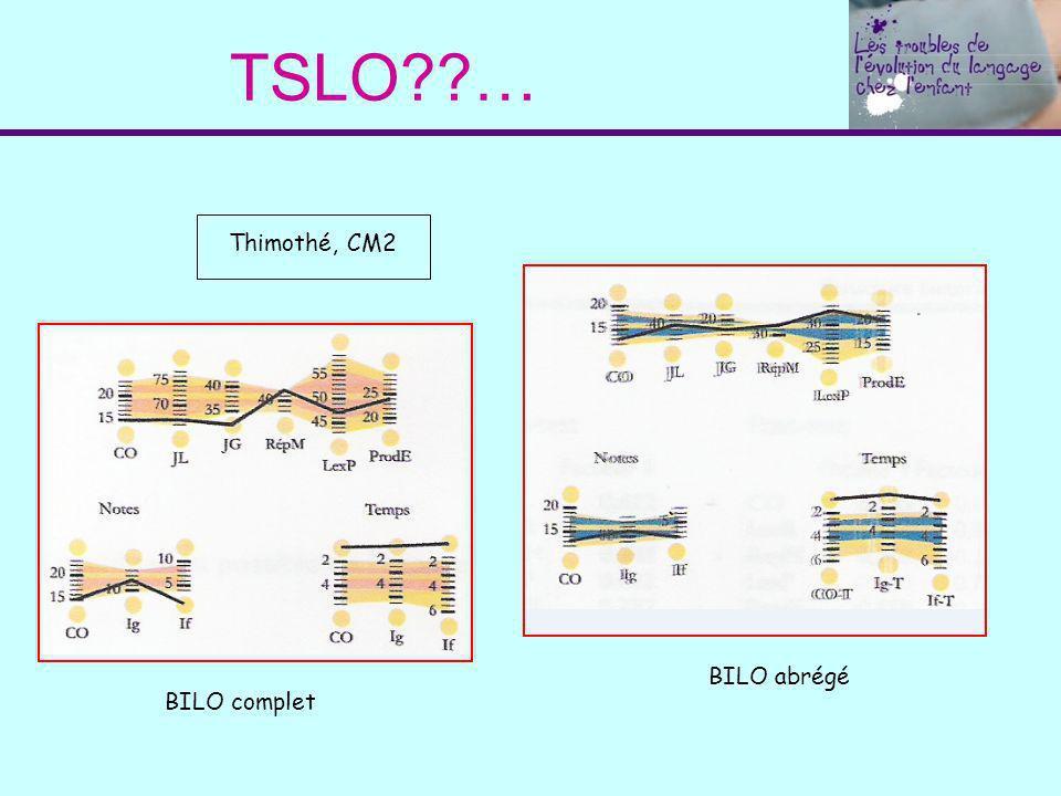 TSLO??… Thimothé, CM2 BILO complet BILO abrégé