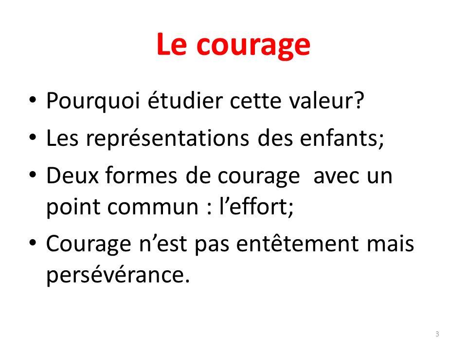 Les objectifs Connaître et comprendre les 2 formes de courage; Comprendre que le courage est une lutte intérieure; Apprendre à distinguer les peurs salutaires des peurs paralysantes; Comprendre que leffort ne suffit pas toujours sil nest pas régulier.