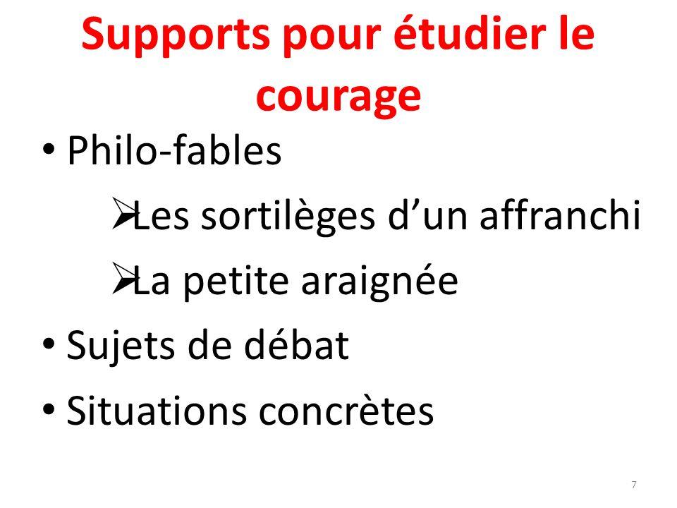 Supports pour étudier le courage Philo-fables Les sortilèges dun affranchi La petite araignée Sujets de débat Situations concrètes 7