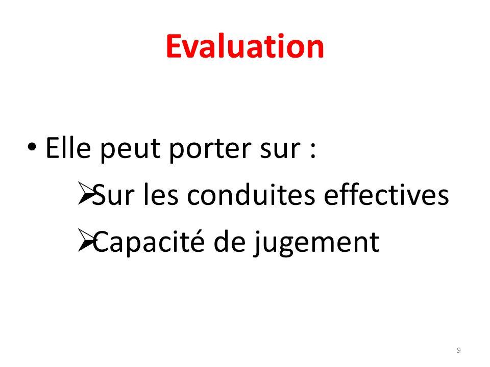 Evaluation Elle peut porter sur : Sur les conduites effectives Capacité de jugement 9