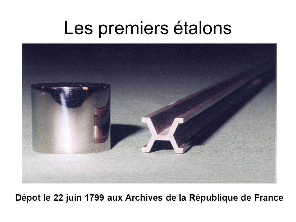 Les premiers étalons Dépot le 22 juin 1799 aux Archives de la République de France
