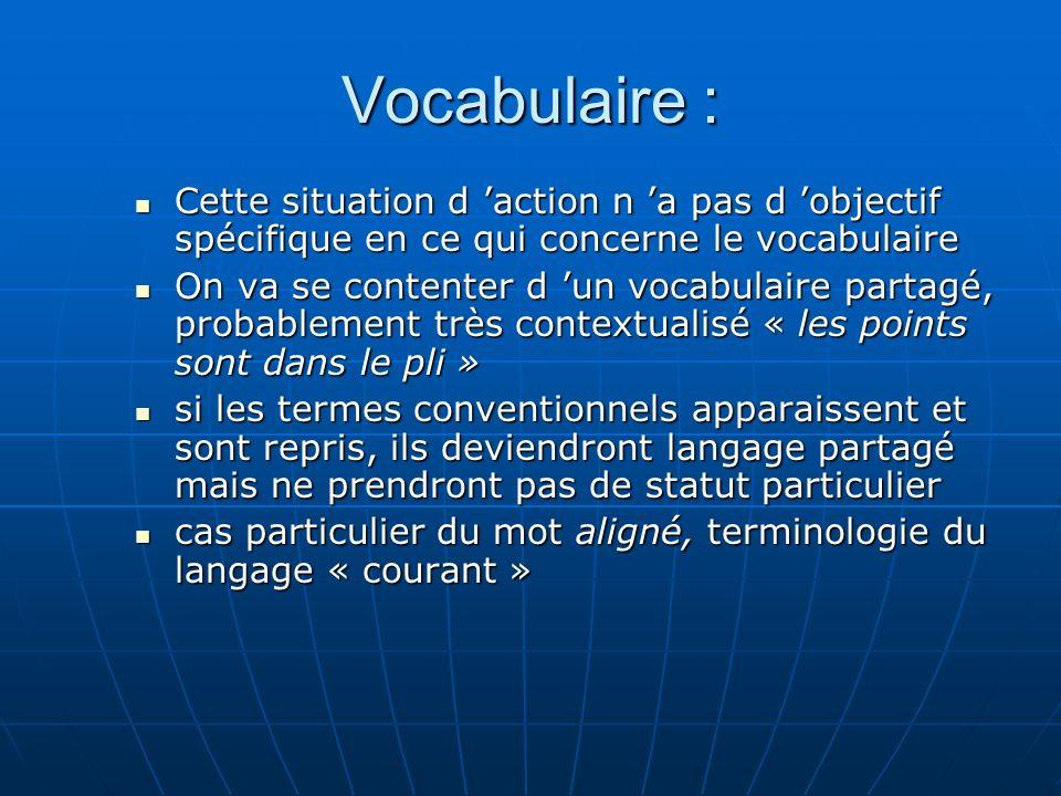 Vocabulaire : Cette situation d action n a pas d objectif spécifique en ce qui concerne le vocabulaire Cette situation d action n a pas d objectif spé