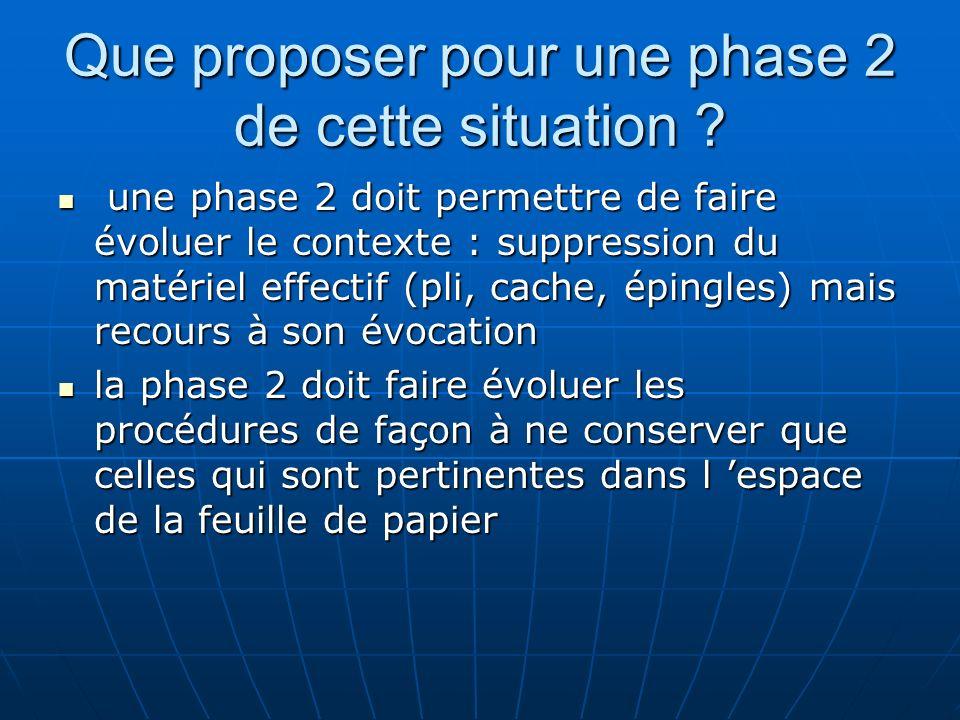 Que proposer pour une phase 2 de cette situation ? une phase 2 doit permettre de faire évoluer le contexte : suppression du matériel effectif (pli, ca