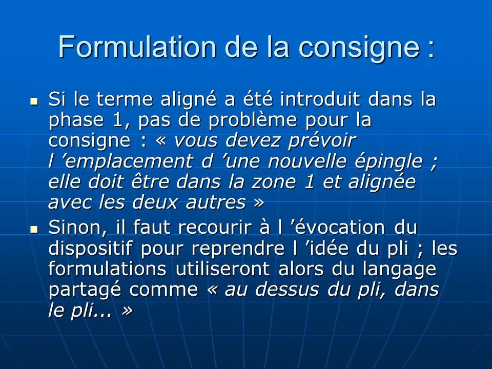 Formulation de la consigne : Si le terme aligné a été introduit dans la phase 1, pas de problème pour la consigne : « vous devez prévoir l emplacement