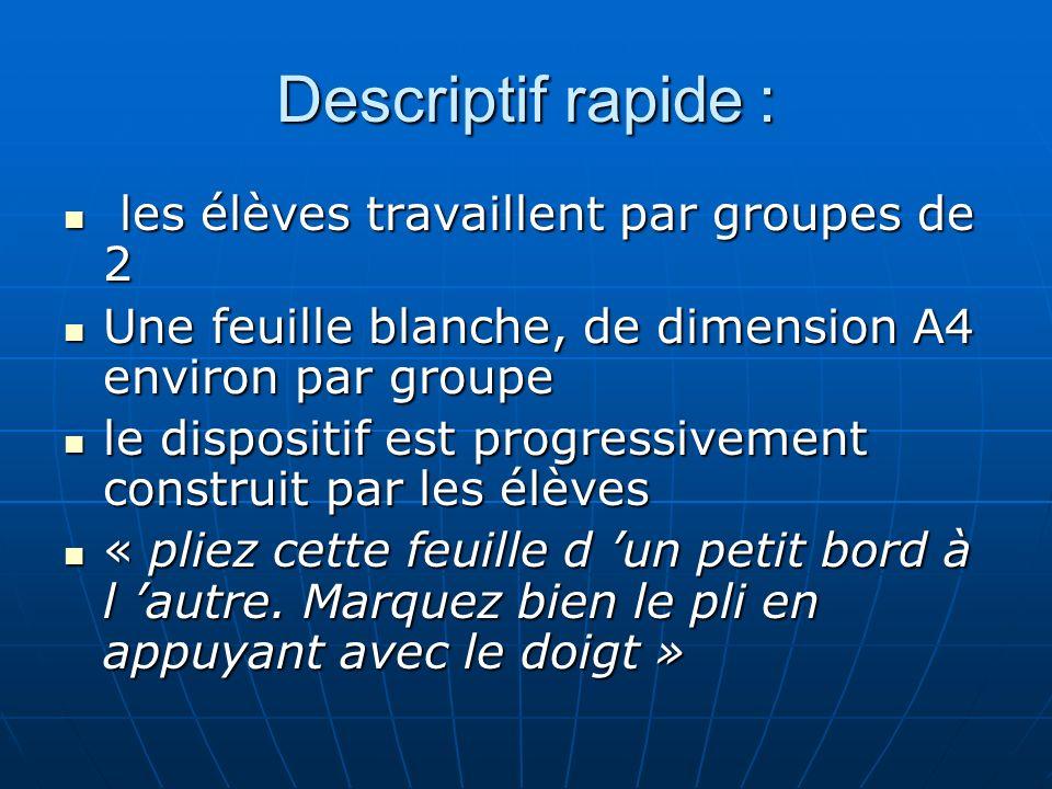 Descriptif rapide : les élèves travaillent par groupes de 2 les élèves travaillent par groupes de 2 Une feuille blanche, de dimension A4 environ par g