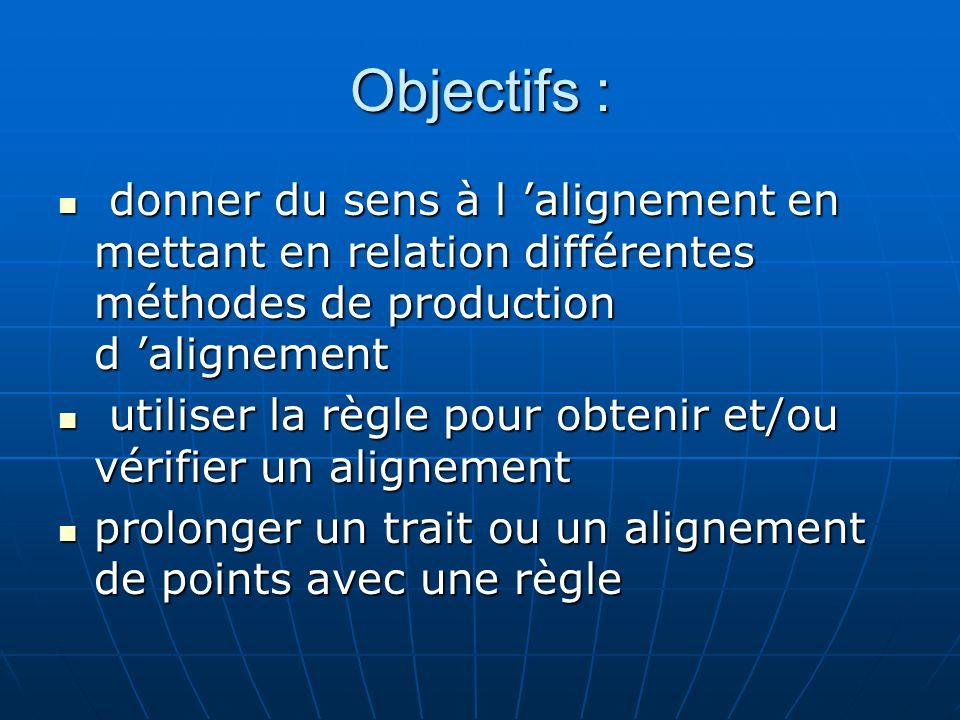 Objectifs : donner du sens à l alignement en mettant en relation différentes méthodes de production d alignement donner du sens à l alignement en mett