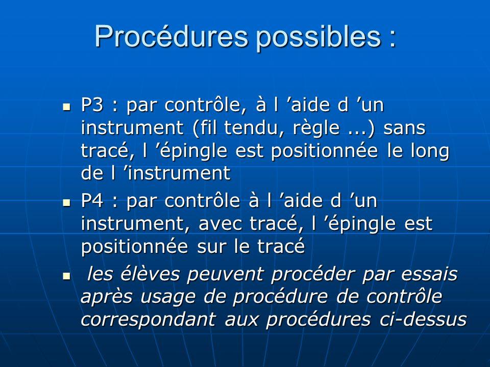 Procédures possibles : P3 : par contrôle, à l aide d un instrument (fil tendu, règle...) sans tracé, l épingle est positionnée le long de l instrument