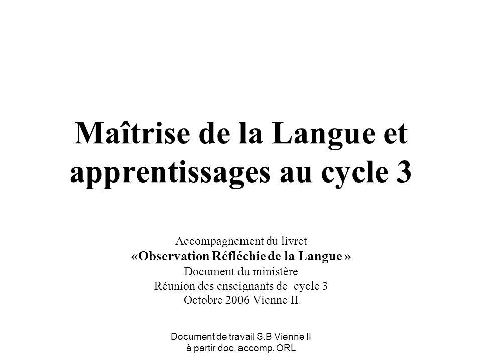 Document de travail S.B Vienne II à partir doc. accomp. ORL Maîtrise de la Langue et apprentissages au cycle 3 Accompagnement du livret «Observation R
