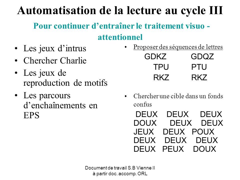 Document de travail S.B Vienne II à partir doc. accomp. ORL Automatisation de la lecture au cycle III Pour continuer dentraîner le traitement visuo -