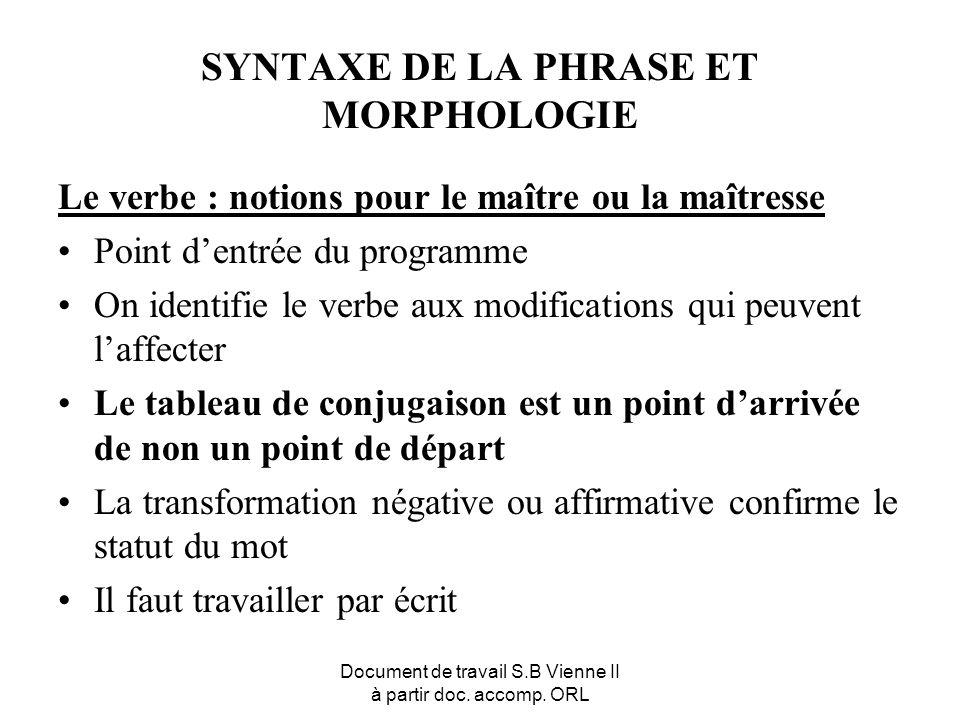 Document de travail S.B Vienne II à partir doc. accomp. ORL SYNTAXE DE LA PHRASE ET MORPHOLOGIE Le verbe : notions pour le maître ou la maîtresse Poin