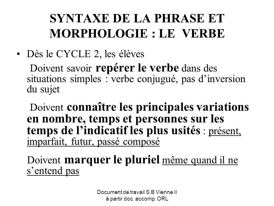 Document de travail S.B Vienne II à partir doc. accomp. ORL SYNTAXE DE LA PHRASE ET MORPHOLOGIE : LE VERBE Dès le CYCLE 2, les élèves Doivent savoir r