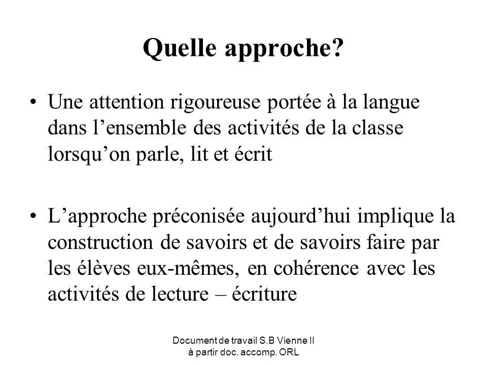 Document de travail S.B Vienne II à partir doc. accomp. ORL Quelle approche? Une attention rigoureuse portée à la langue dans lensemble des activités