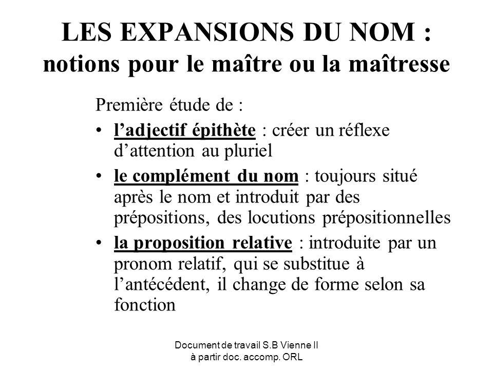 Document de travail S.B Vienne II à partir doc. accomp. ORL LES EXPANSIONS DU NOM : notions pour le maître ou la maîtresse Première étude de : ladject
