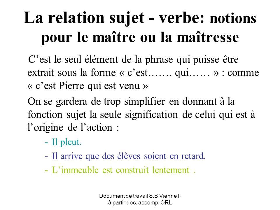 Document de travail S.B Vienne II à partir doc. accomp. ORL La relation sujet - verbe: notions pour le maître ou la maîtresse Cest le seul élément de