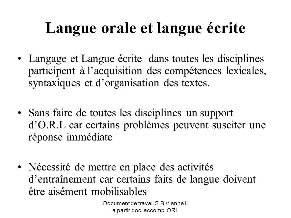 Document de travail S.B Vienne II à partir doc. accomp. ORL Langue orale et langue écrite Langage et Langue écrite dans toutes les disciplines partici