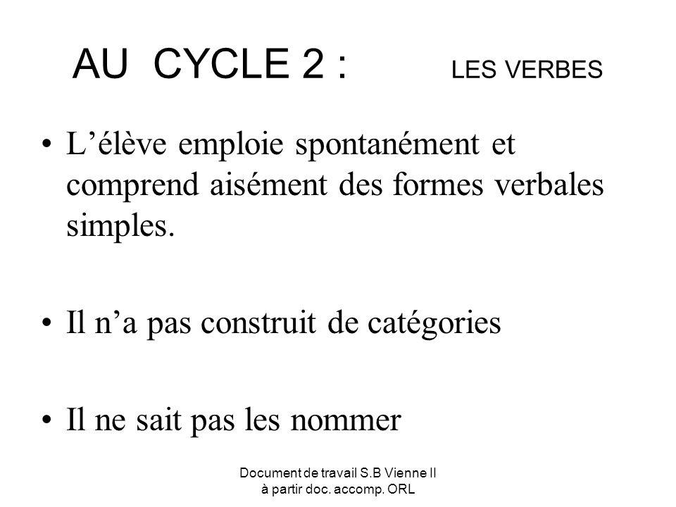 Document de travail S.B Vienne II à partir doc. accomp. ORL AU CYCLE 2 : LES VERBES Lélève emploie spontanément et comprend aisément des formes verbal