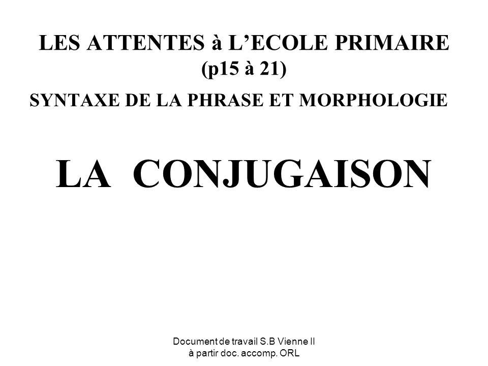 Document de travail S.B Vienne II à partir doc. accomp. ORL LES ATTENTES à LECOLE PRIMAIRE (p15 à 21) SYNTAXE DE LA PHRASE ET MORPHOLOGIE LA CONJUGAIS