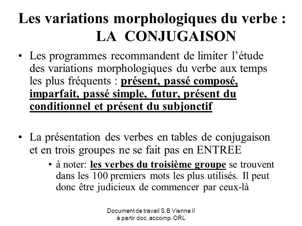 Document de travail S.B Vienne II à partir doc. accomp. ORL Les variations morphologiques du verbe : LA CONJUGAISON Les programmes recommandent de lim