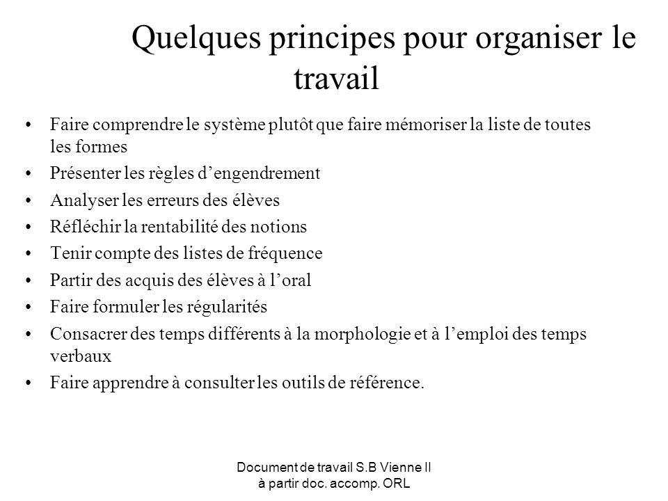 Document de travail S.B Vienne II à partir doc. accomp. ORL Quelques principes pour organiser le travail Faire comprendre le système plutôt que faire