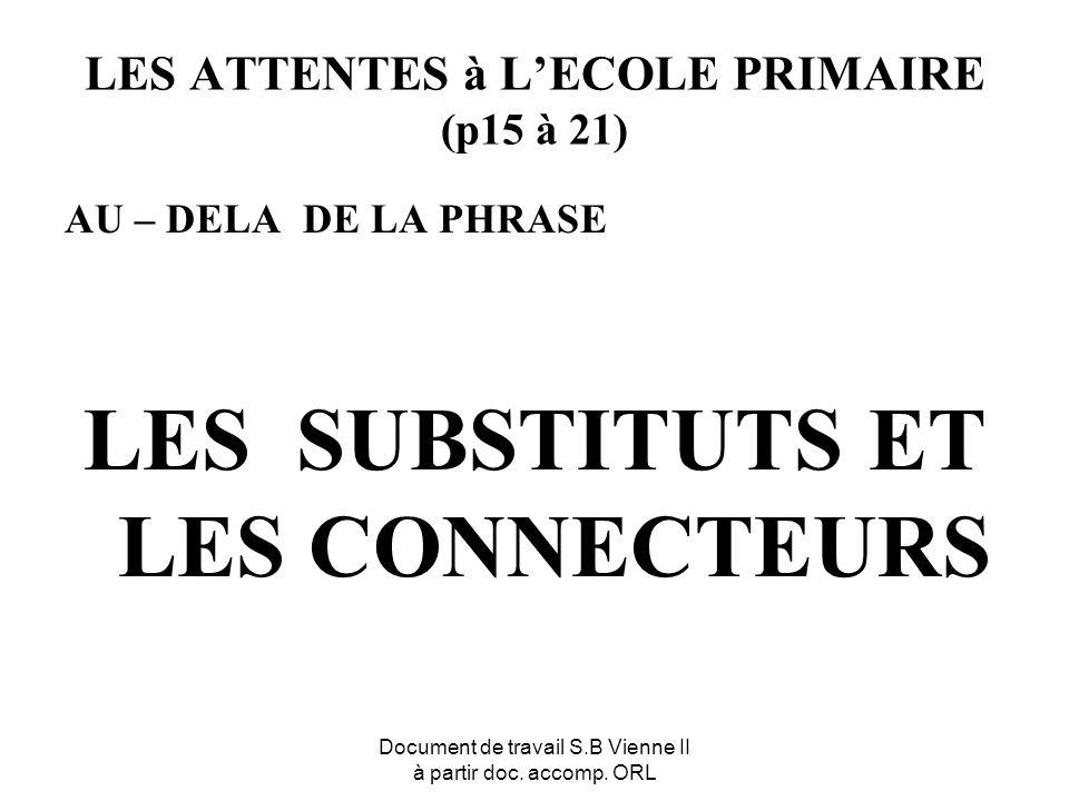 Document de travail S.B Vienne II à partir doc. accomp. ORL LES ATTENTES à LECOLE PRIMAIRE (p15 à 21) AU – DELA DE LA PHRASE LES SUBSTITUTS ET LES CON