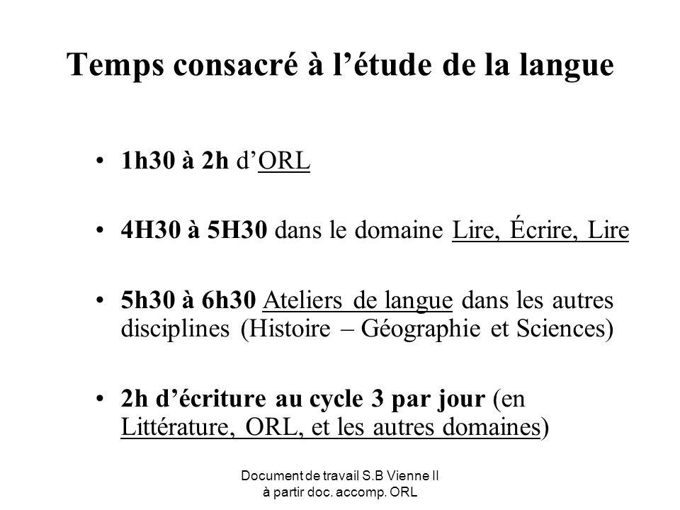 Document de travail S.B Vienne II à partir doc. accomp. ORL Temps consacré à létude de la langue 1h30 à 2h dORL 4H30 à 5H30 dans le domaine Lire, Écri