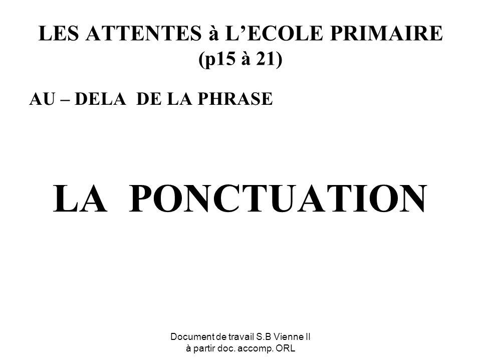 Document de travail S.B Vienne II à partir doc. accomp. ORL LES ATTENTES à LECOLE PRIMAIRE (p15 à 21) AU – DELA DE LA PHRASE LA PONCTUATION