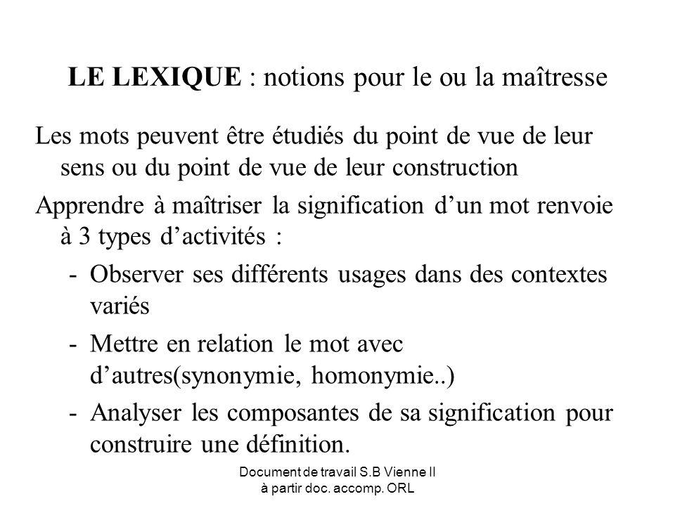 Document de travail S.B Vienne II à partir doc. accomp. ORL LE LEXIQUE : notions pour le ou la maîtresse Les mots peuvent être étudiés du point de vue