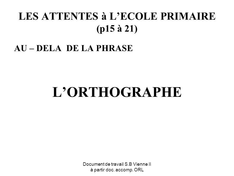 Document de travail S.B Vienne II à partir doc. accomp. ORL LES ATTENTES à LECOLE PRIMAIRE (p15 à 21) AU – DELA DE LA PHRASE LORTHOGRAPHE
