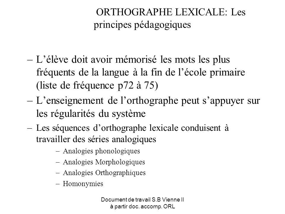 Document de travail S.B Vienne II à partir doc. accomp. ORL ORTHOGRAPHE LEXICALE: Les principes pédagogiques –Lélève doit avoir mémorisé les mots les