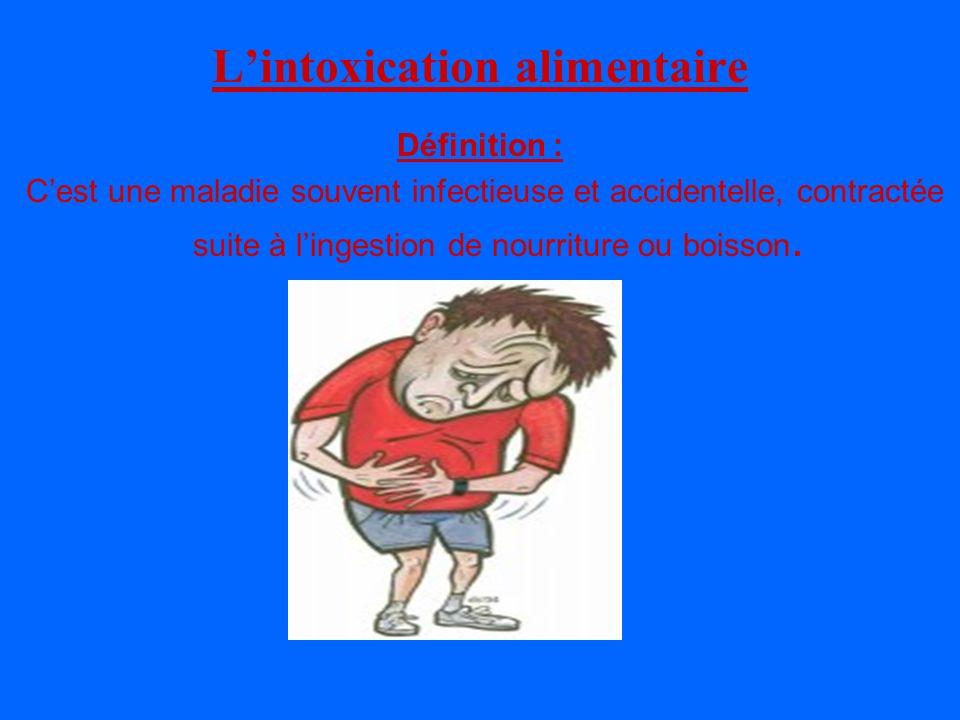 Lintoxication alimentaire Définition : Cest une maladie souvent infectieuse et accidentelle, contractée suite à lingestion de nourriture ou boisson.