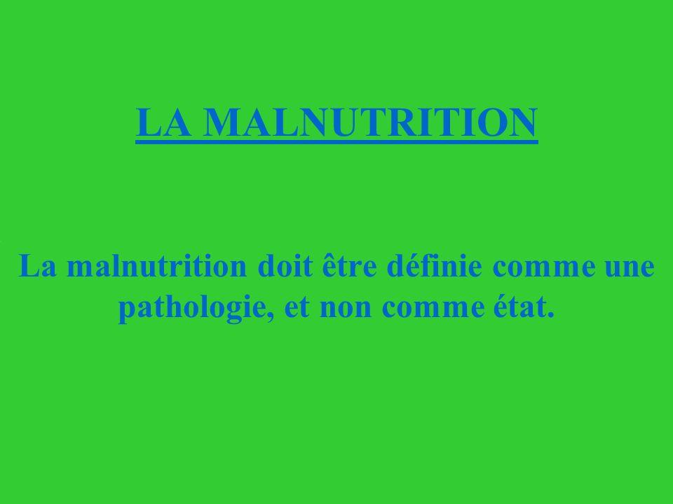 La malnutrition doit être définie comme une pathologie, et non comme état. LA MALNUTRITION