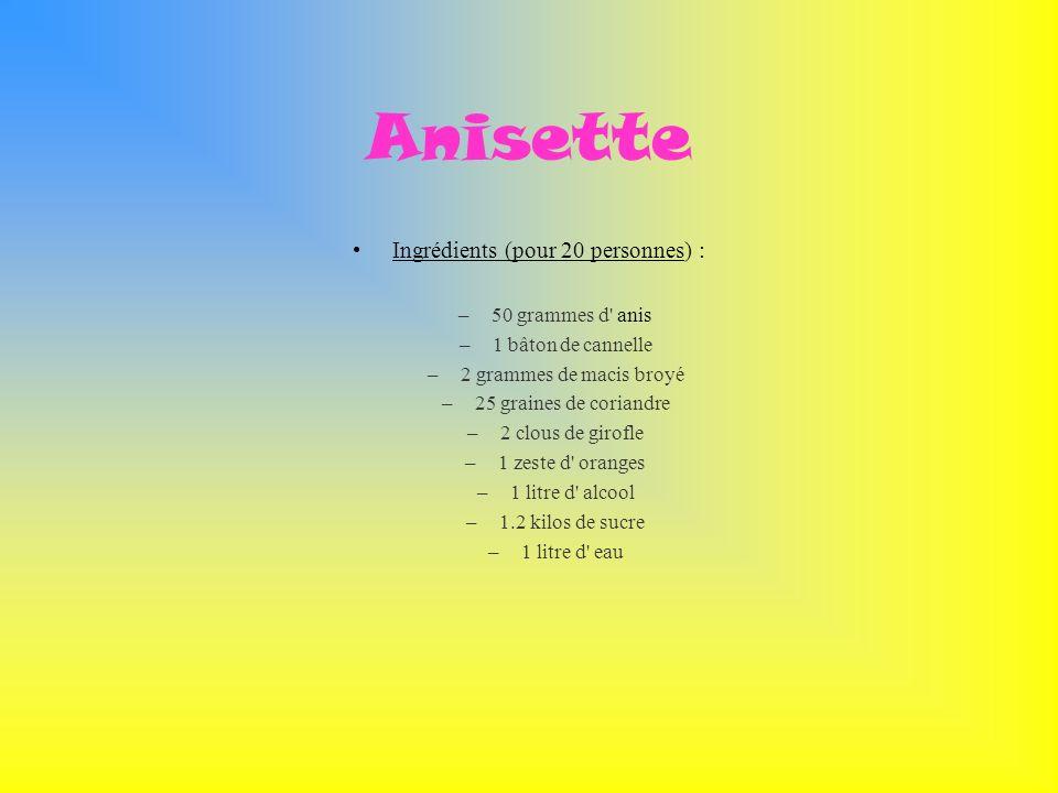 Anisette Ingrédients (pour 20 personnes) : –50 grammes d' anis –1 bâton de cannelle –2 grammes de macis broyé –25 graines de coriandre –2 clous de gir