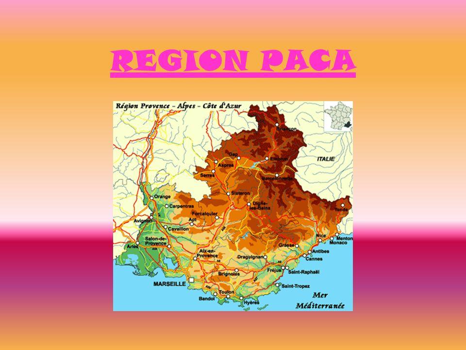 SITUATION GEOGRAPHIQUE Population : 4 818 000 habitants Surface : 31 400 km² Densité : 158 hab/km² Langue locale : occitan Départements : Alpes de Haute Provence (04), Hautes Alpes (05), Alpes Maritimes (06), Bouches du Rhône (13), Var (83), Vaucluse (84)