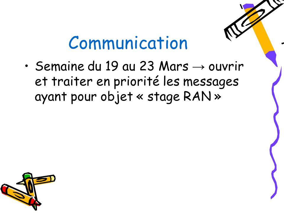 Communication Semaine du 19 au 23 Mars ouvrir et traiter en priorité les messages ayant pour objet « stage RAN »