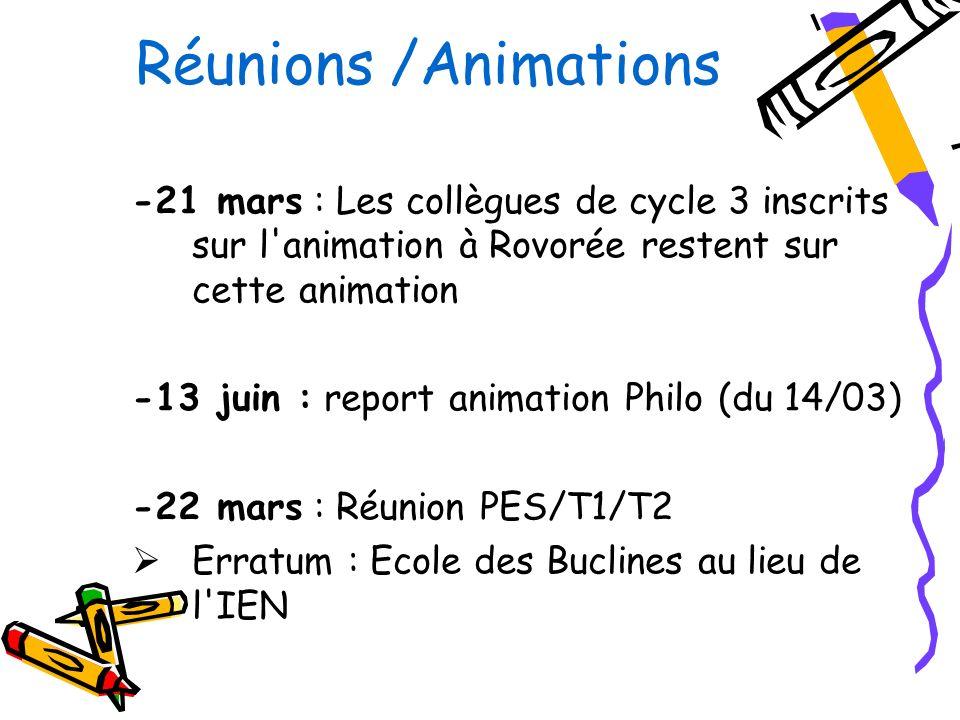 Réunions /Animations -21 mars : Les collègues de cycle 3 inscrits sur l animation à Rovorée restent sur cette animation -13 juin : report animation Philo (du 14/03) -22 mars : Réunion PES/T1/T2 Erratum : Ecole des Buclines au lieu de l IEN