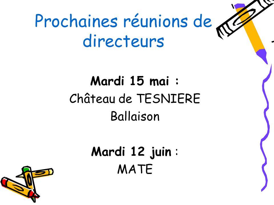 Prochaines réunions de directeurs Mardi 15 mai : Château de TESNIERE Ballaison Mardi 12 juin : MATE