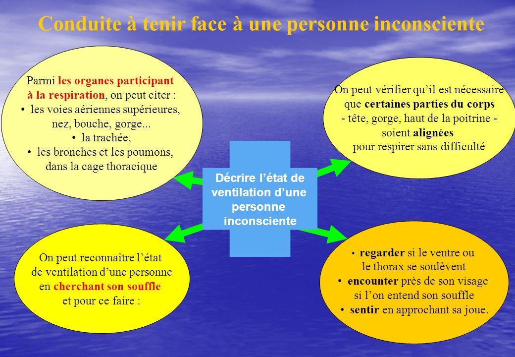 Conduite à tenir face à une personne inconsciente Parmi les organes participant à la respiration, on peut citer : les voies aériennes supérieures, nez, bouche, gorge...