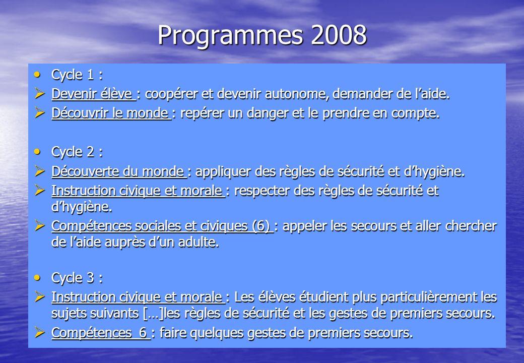 Programmes 2008 Cycle 1 : Cycle 1 : Devenir élève : coopérer et devenir autonome, demander de laide. Devenir élève : coopérer et devenir autonome, dem