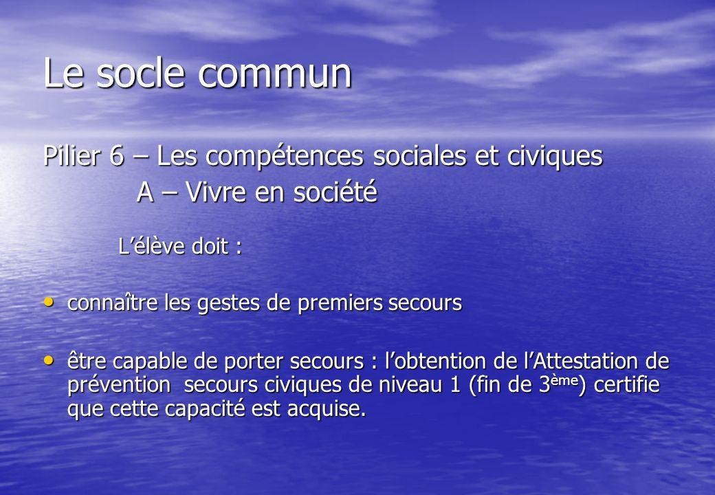 Le socle commun Pilier 6 – Les compétences sociales et civiques A – Vivre en société A – Vivre en société Lélève doit : Lélève doit : connaître les ge
