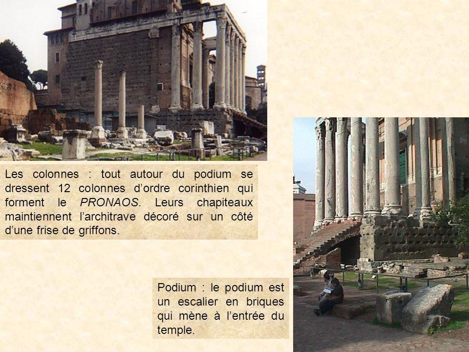 Le temple a été construit en 141 avant J.C. par lempereur ANTONIN le Pieux à la mémoire de sa femme. Il fut transformé en église au VIII ème siècle, c