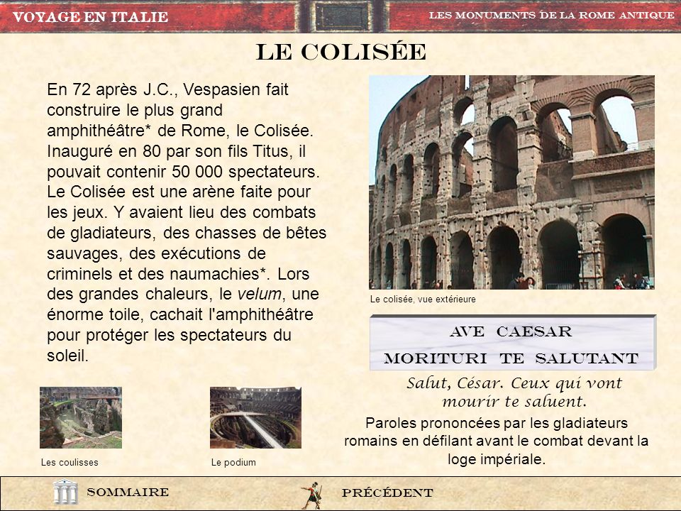 Monument1 SOMMAIRE Les Monuments de la rome Antique Colisée Colonne trajane Arc de titus Ara pacis augustae Arc de constantin panthéon Temple de vesta