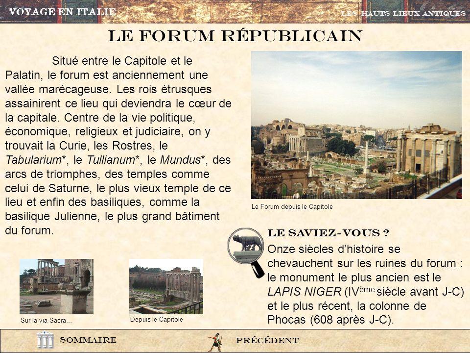 Autrefois la plus petite colline de Rome portait la citadelle, arx, centre du pouvoir politique. On la nommait aussi