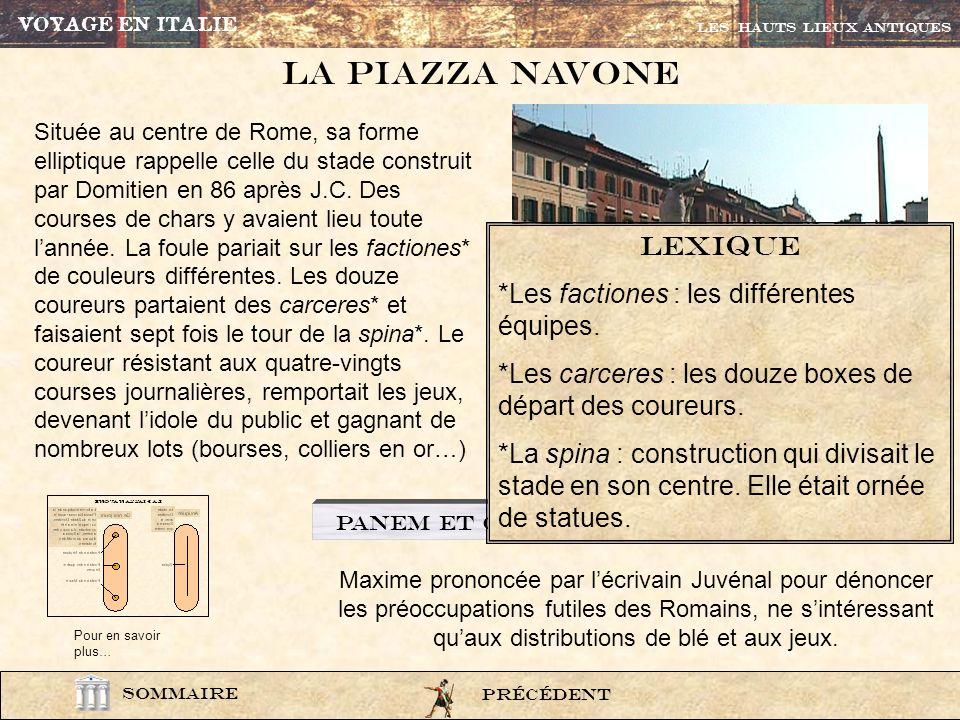 photo231 De nos jours Antiquité Le stade Domitien avec la spina en son centre La forme elliptique de la Piazza Navona rappelle celle du Stade Domitien