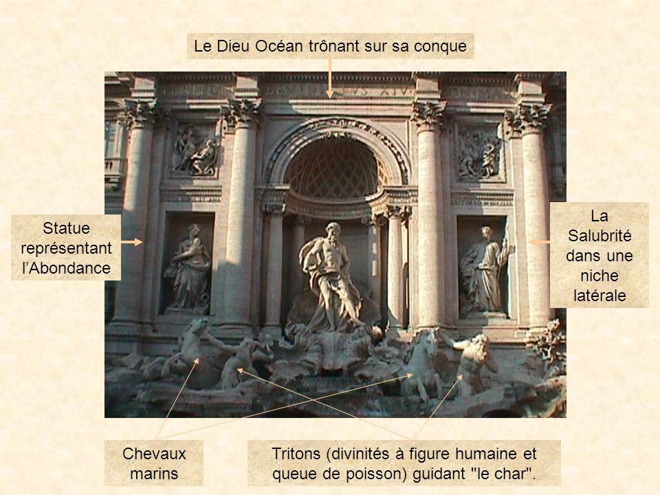 trevi34 La Fontaine de trevi La tradition veut que le touriste, dos au bassin, y jette deux pièces de monnaie : une pour un retour à Rome, lautre pour