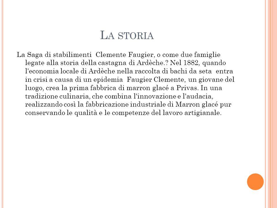 L A STORIA La Saga di stabilimenti Clemente Faugier, o come due famiglie legate alla storia della castagna di Ardèche.? Nel 1882, quando l'economia lo