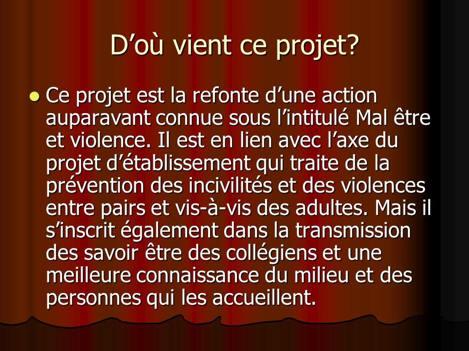 Doù vient ce projet? Ce projet est la refonte dune action auparavant connue sous lintitulé Mal être et violence. Il est en lien avec laxe du projet dé