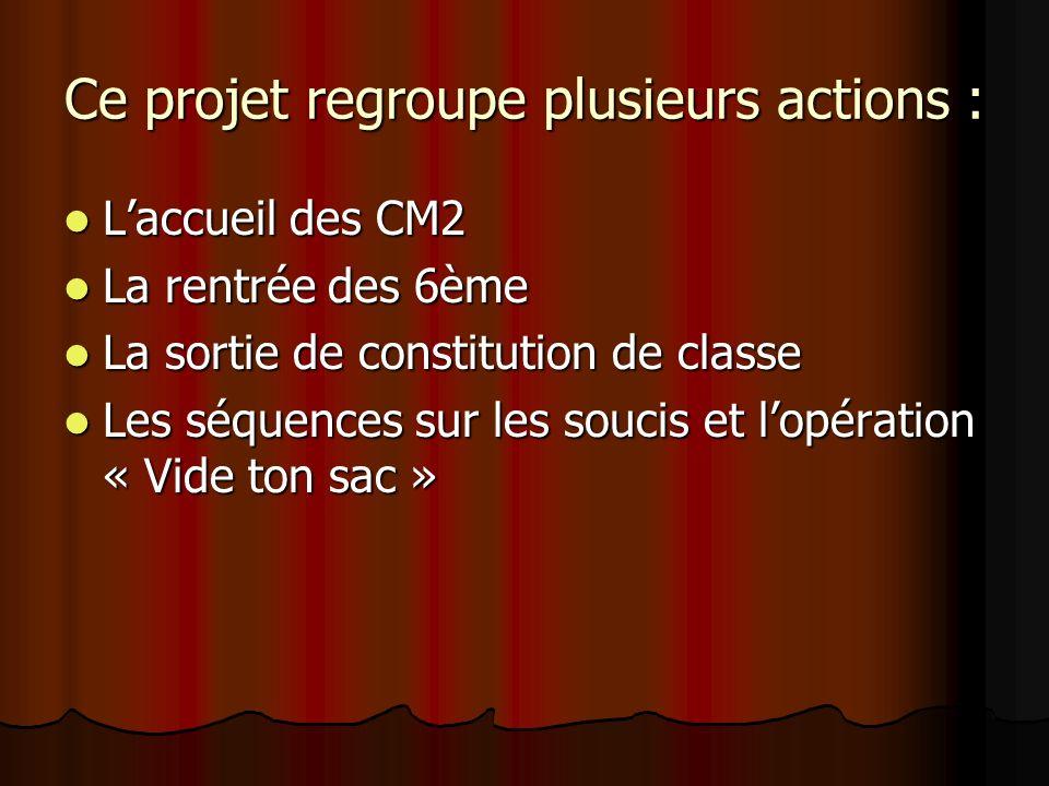 Ce projet regroupe plusieurs actions : Laccueil des CM2 Laccueil des CM2 La rentrée des 6ème La rentrée des 6ème La sortie de constitution de classe L